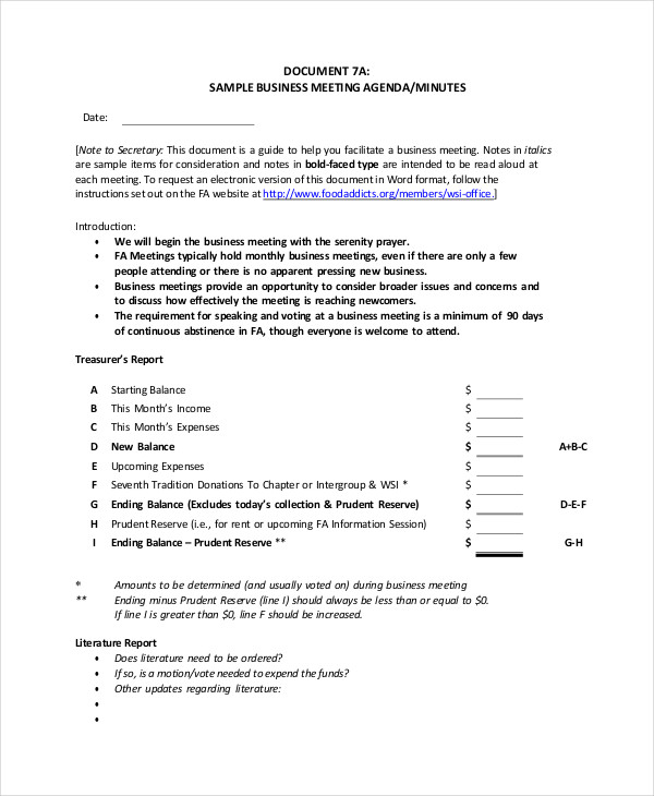 Sample Meeting Agenda Agenda Form Blank Meeting Agenda Form – Meeting Agenda Format