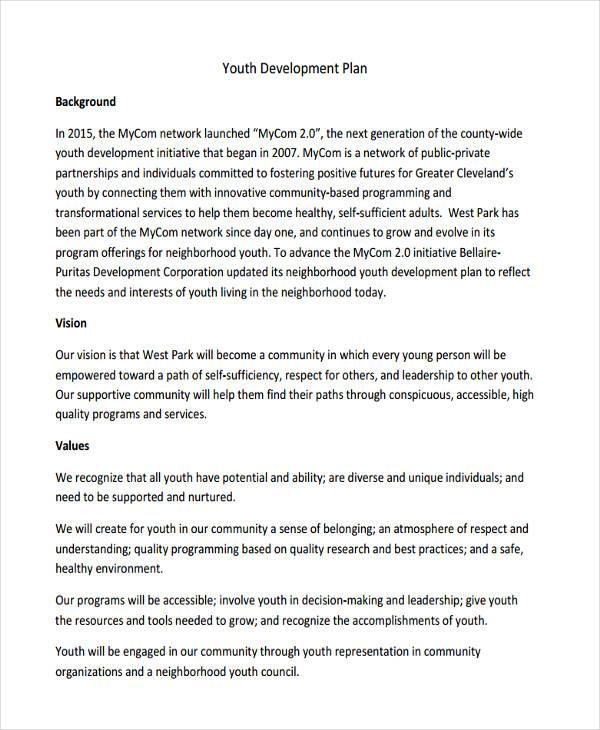 generic youth development plan