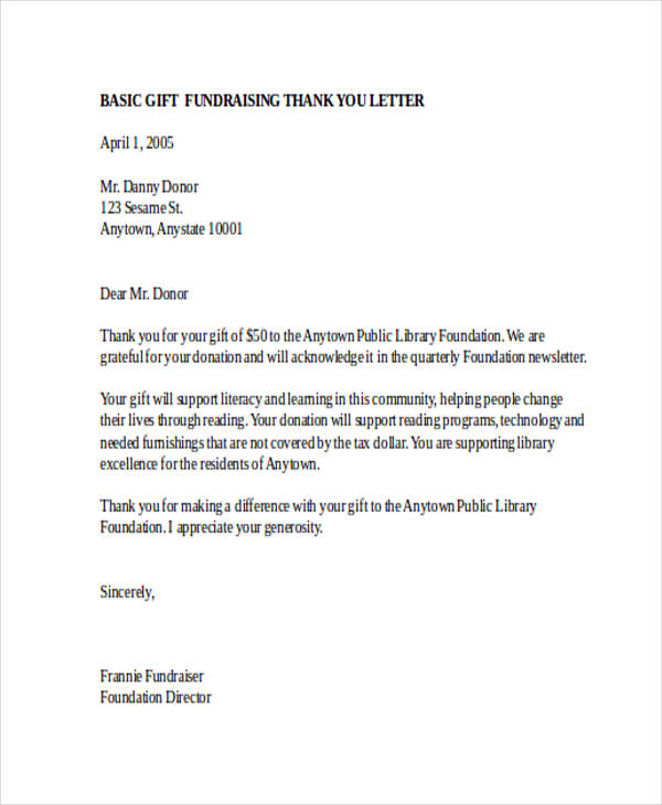 Donation Letter Example Thank You Letters Examples Thank You
