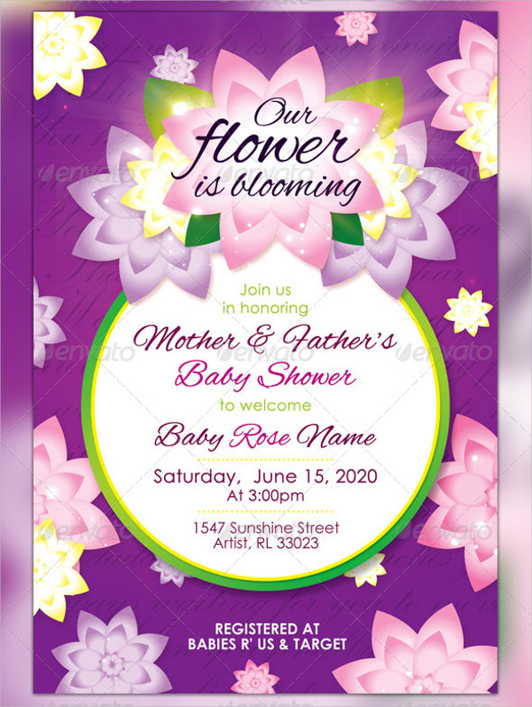 Girl Baby Shower Invitation in PSD