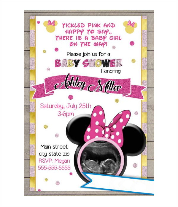 girl minnie mouse baby shower invitation