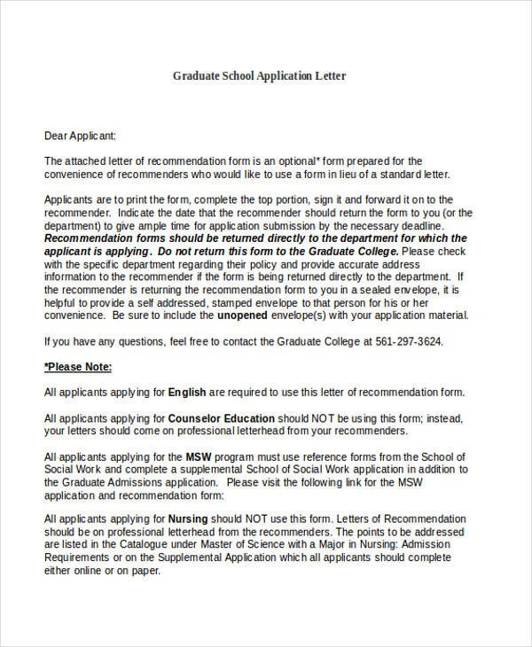 graduate school application letter