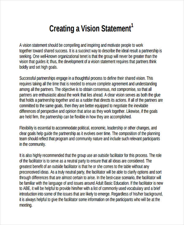 group work vision statement