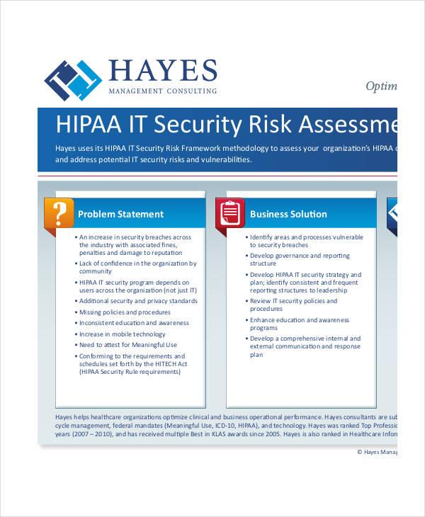 Risk Assessment Examples Samples - It risk assessment template