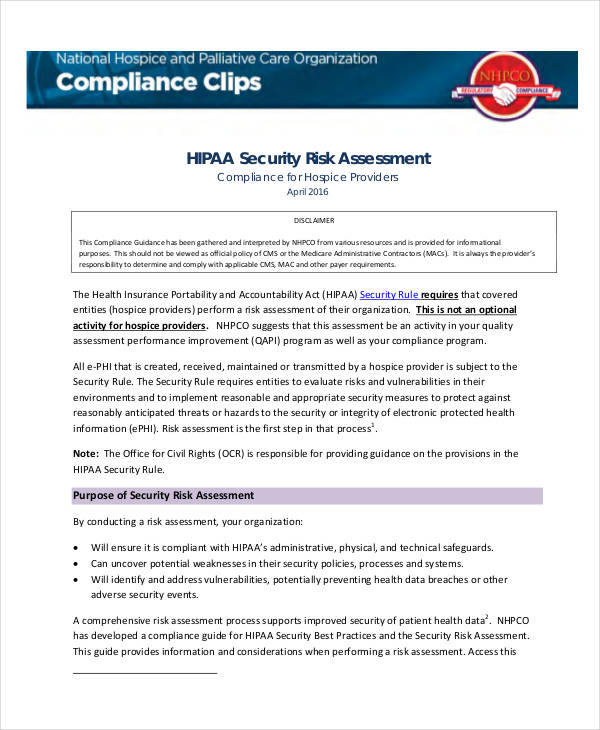 HIPAA Security Risk Assessment  Process Risk Assessment Template