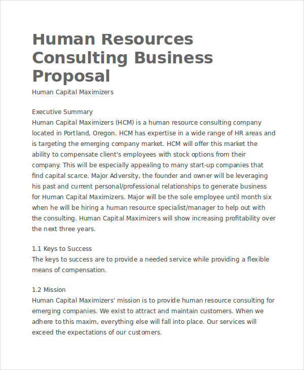hr consulting business proposal