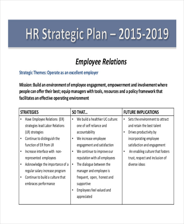 hr strategic plan outline example
