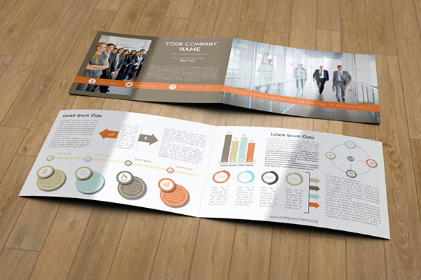 half fold landscape business brochure