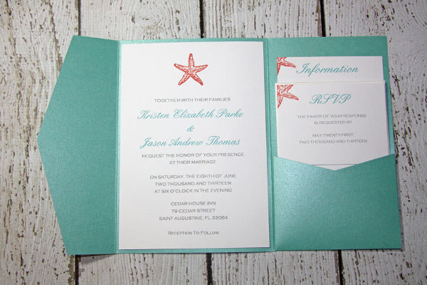 handmade beach wedding invitation
