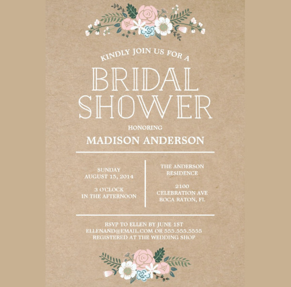 -Handmade Rustic Bridal Shower Invitation