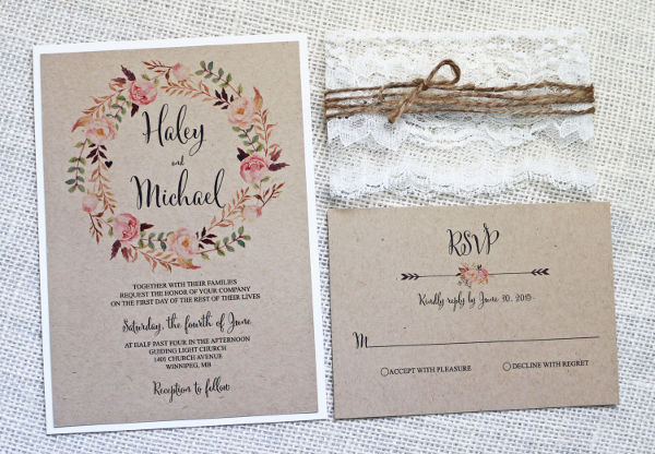 handmade rustic wedding invitation