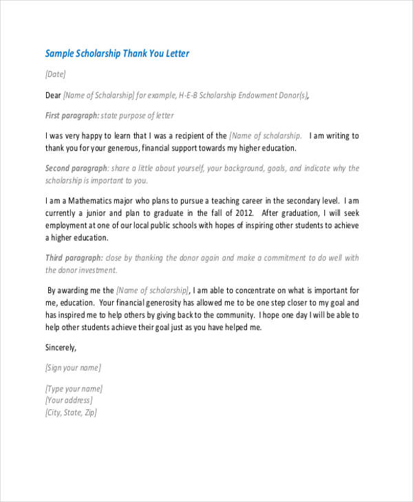 69 thank you letter examples high school scholarship thank you letter sample expocarfo Images