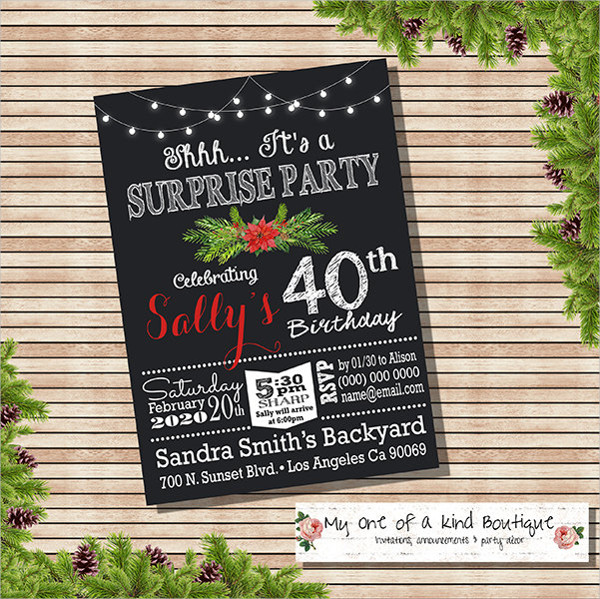 holiday birthday party invitation