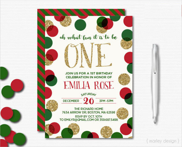 holiday first birthday invitation