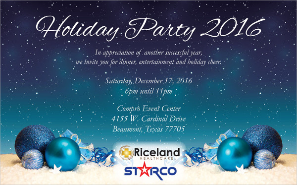 holiday party email invitation