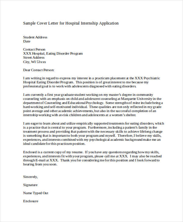 Hospital Internship Application Letter
