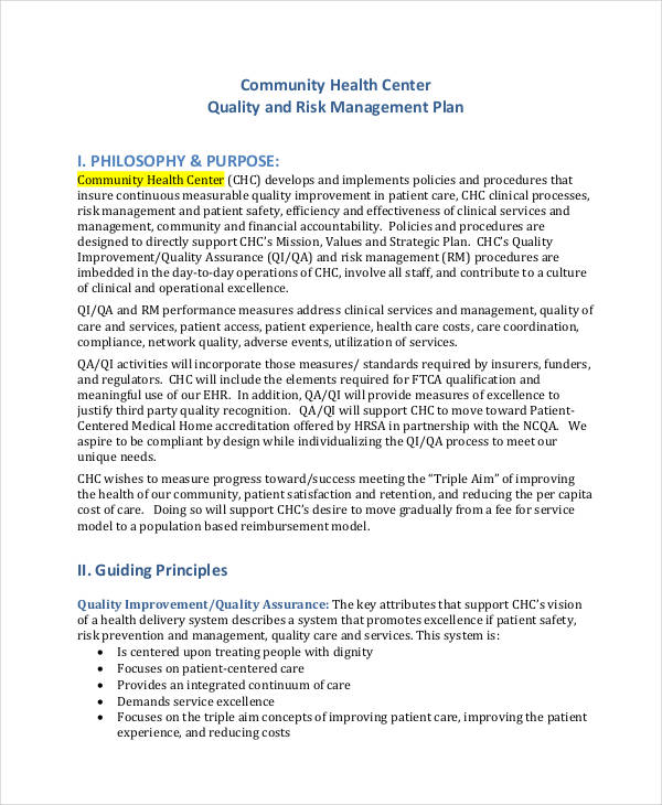 hospital risk management plan