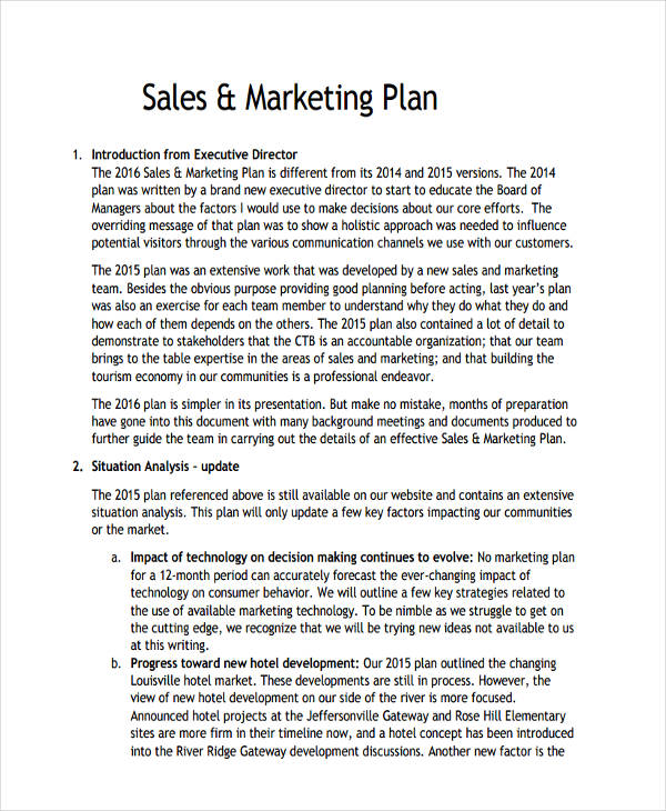 hotel sales and marketing plan