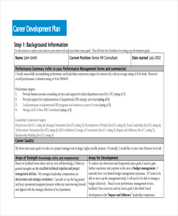 Career progression plan template for Five year career development plan template