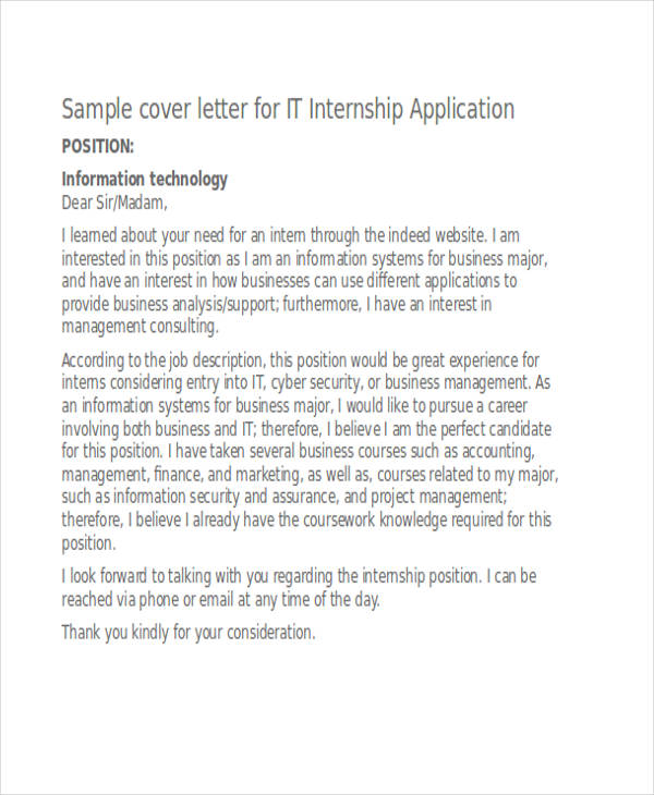 IT Internship Application Letter  Sample It Cover Letter