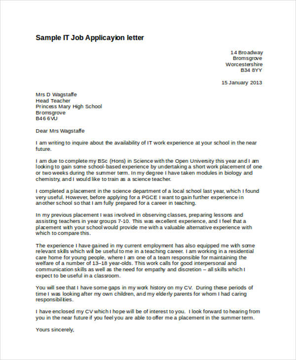 46 application letter examples samples pdf doc it job application letter altavistaventures