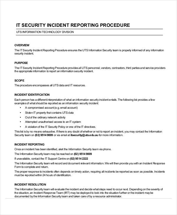 39 incident report examples samples pdf doc pages for Serious incident report template