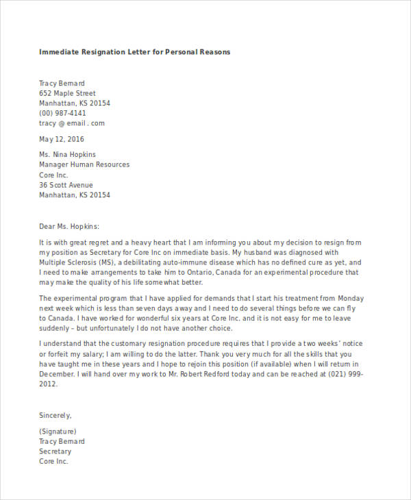 immediate resignation letter with reason