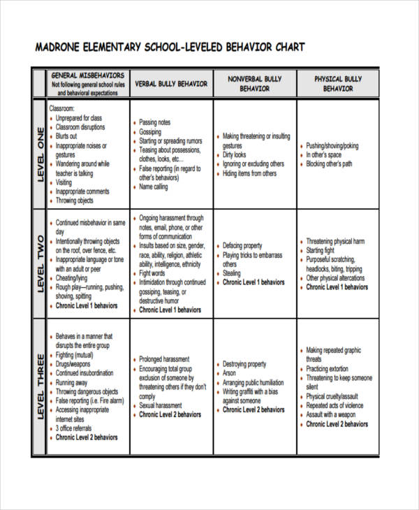 individual behavior chart example