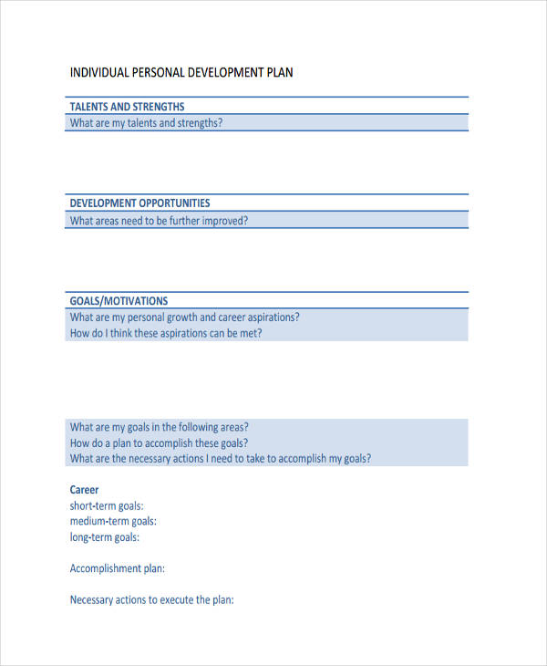 Individual Personal Development Plan Sample  Personal Career Development Plan Template