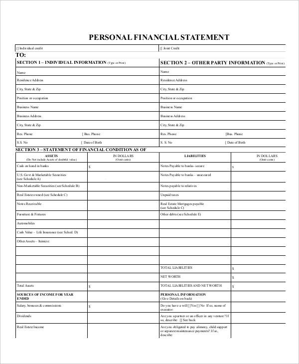 individual personal financial statement