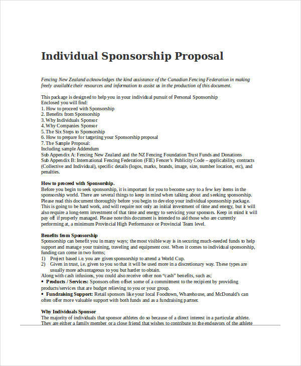Individual Sponsorship Proposal Sample