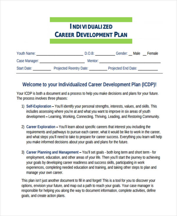 Individualized Career Development Plan  Employee Personal Development Plan Template