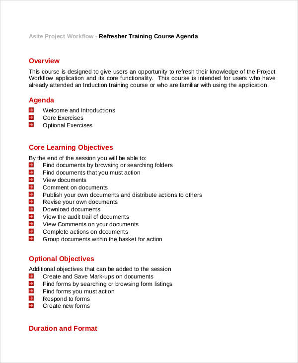 Training Agenda Examples  Samples