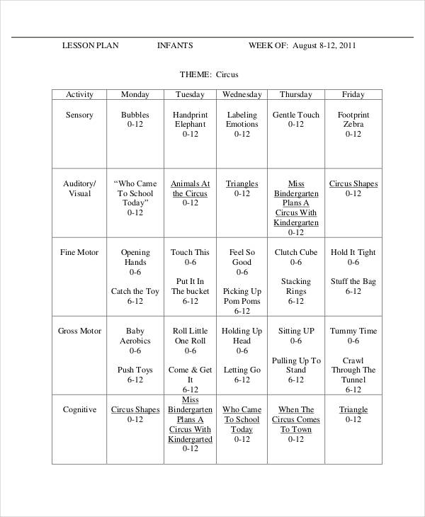 infant weekly lesson plan
