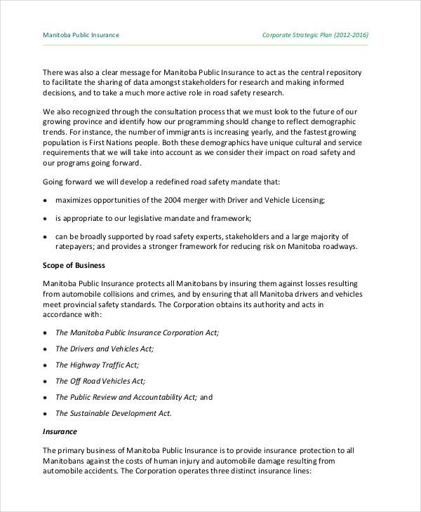 insurance company strategic plan