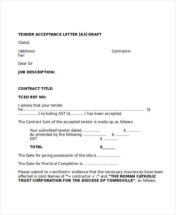 insurance tender acceptance