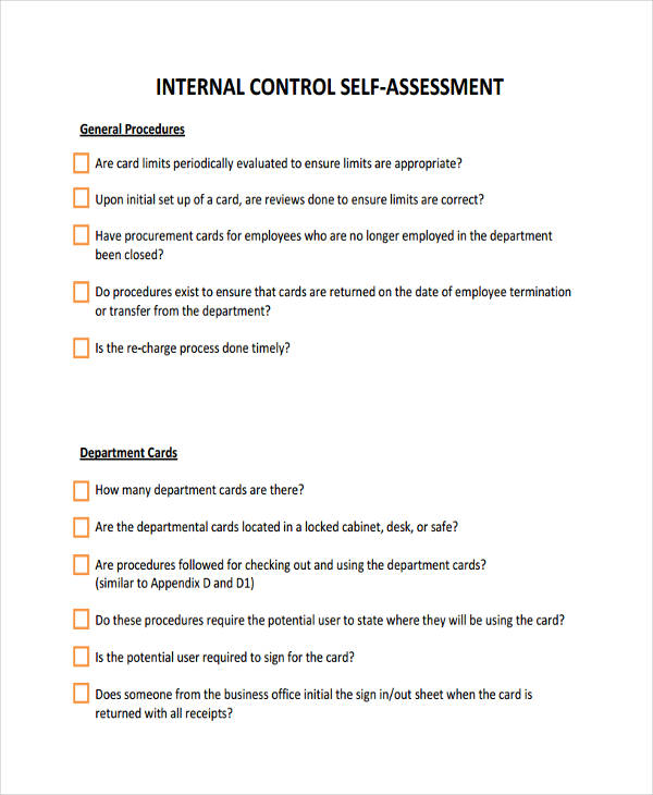 internal control self assessment