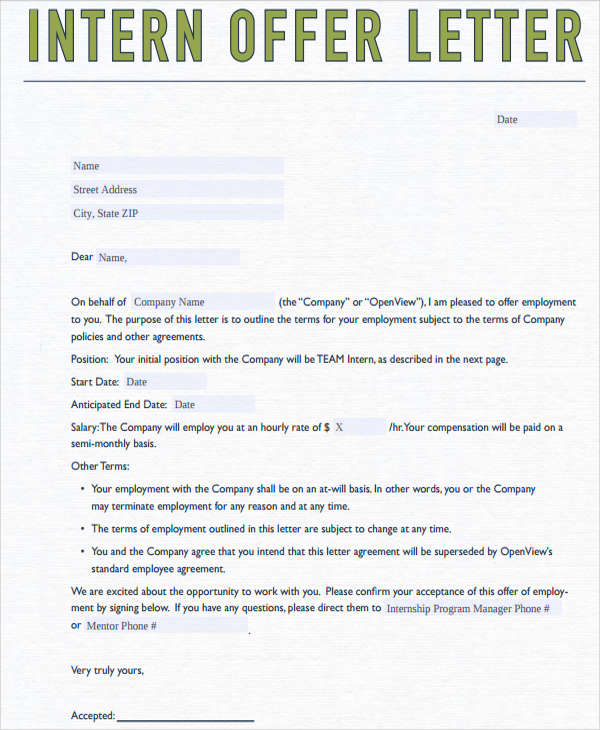 40 offer letter examples internship employment offer letter spiritdancerdesigns Gallery