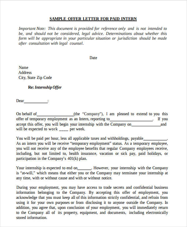 job offer letter 40 offer letter examples examples 13353 | Internship Job Offer Letter