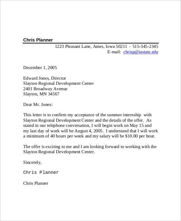 internship offer acceptance