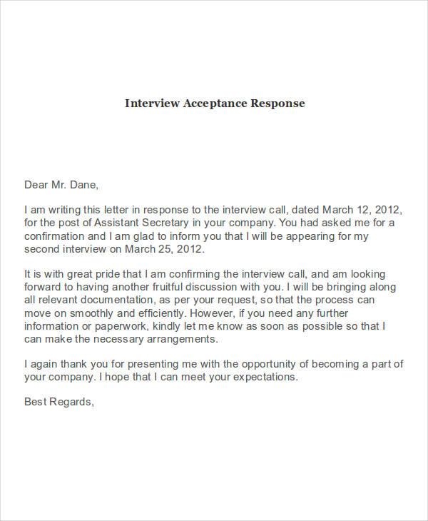 interview acceptance response