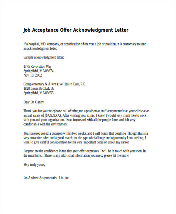 job acceptance acknowledgement letter
