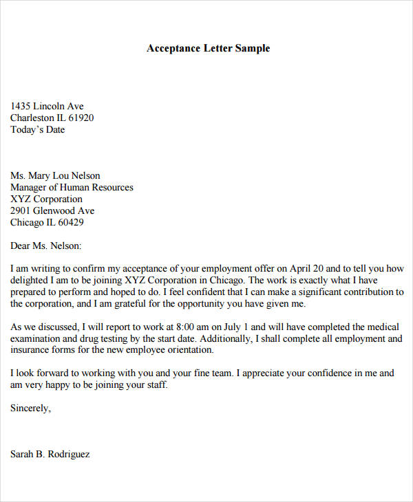 Job Acceptance Offer Letter  Acceptance Of Offer