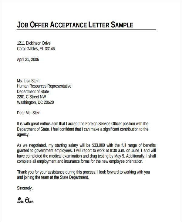 job acceptance thank you letter