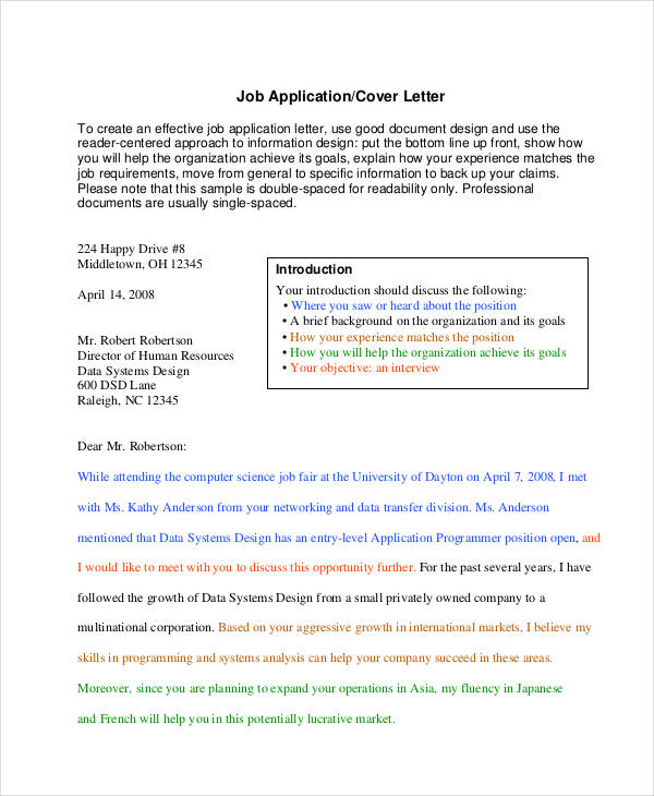 48 formal letter examples and samples pdf doc job application sample spiritdancerdesigns Choice Image