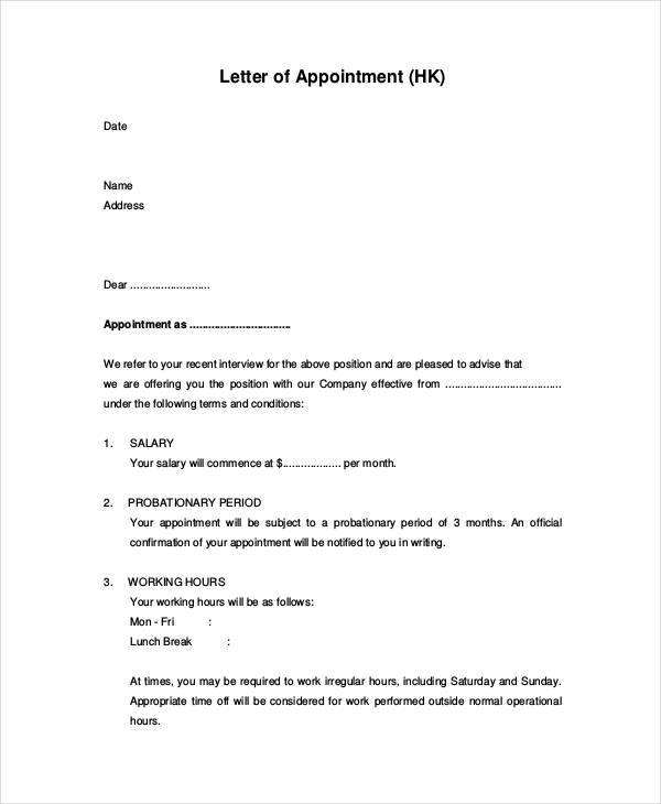 Appointment letters in doc appointment letter examples samples pdf doc spiritdancerdesigns Image collections