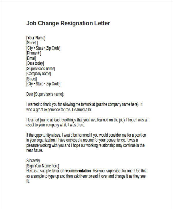 job change resignation letter
