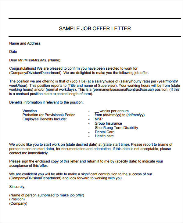 Job Employment Offer Letter