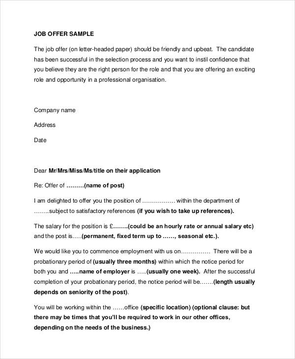 Job Offer Letters JobOfferRejectionLetter Sample Offer Letter