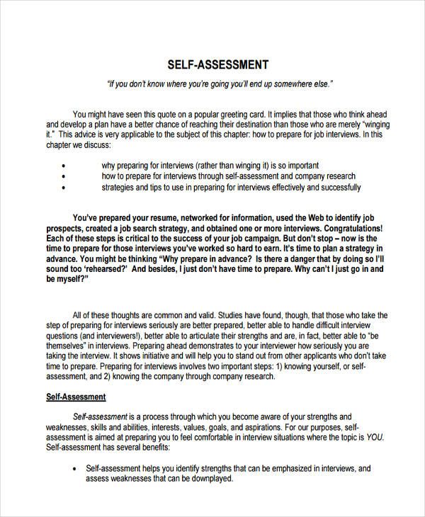 Self Assessment Examples